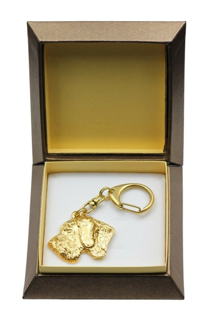 German Wirehaired Pointer - oro covered keyring with dog, box, quality, Art Dog