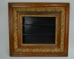 "Victorian Ornate Wood & Gesso Gold Gilt Picture Shadow Frame 30""X 27""X3-3/8"""