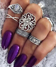 12pcs Boho Vintage Turquoise Animal Ring Set Midi Finger Knuckle Rings