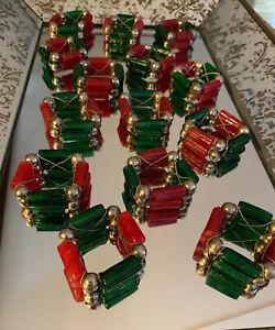 Vintage-Set-14-Red-Green-Napkin-Holder-Rings-Glass-Balls-Beads-Christmas-Holiday