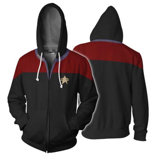 Star Trek Voyager Commander Captain Zipper Sweatshirt Costume Hoodie Jacket
