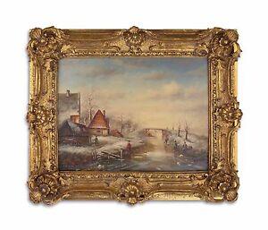 9973270-ds Öl-Gemälde /Holz im Holz/Resin-Goldstuck-Rahmen Winterlandschaft  neu