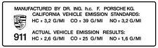 Porsche 911 (early) California emissions sticker