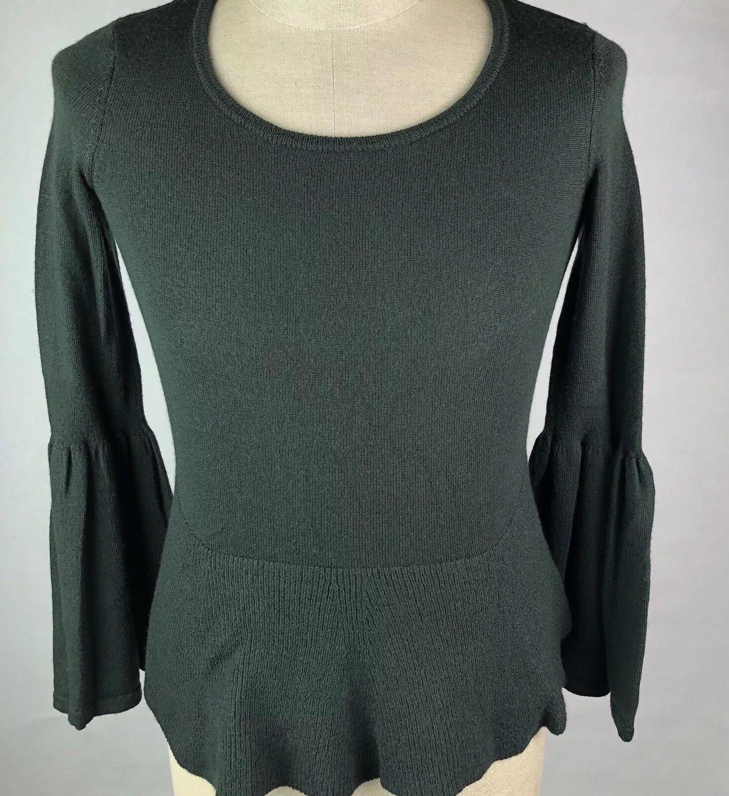 Nanette Lepore Green Merino Wool Sweater Sz XS Bell Sleeve Pepulum Sweater Ww