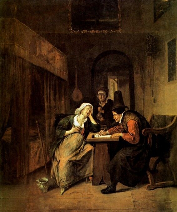 A PREGNANT WOMAN IN A MEDICAL CONSULTATION MEDICINE PAINTING BY JAN STEEN REPRO