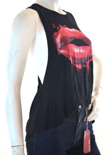 6/% spandex tank S M L Women/'s Runway Lip print Graphic Tee Sleeveless 94/% rayon