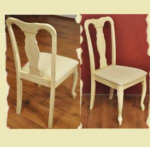 SET Stühle Küchen Sessel 2x Stuhl Hevea Holz creme antik beige ...