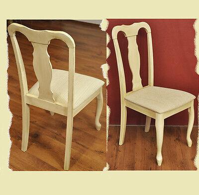 SET Stühle Küchen Sessel 2x Stuhl Hevea Holz creme antik beige Quenn Stil 903609