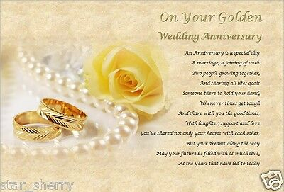 50th Wedding Anniversary Gift Golden Personalised Poem