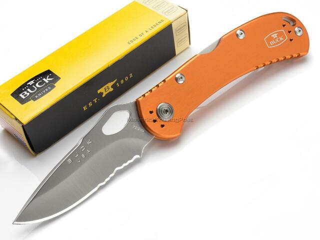 Buck Spitfire Orange EDC Folder Pocket Knife Serrated Drop Point 420HC USA  722OR