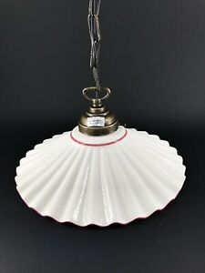 Lampadario sospensione ottone ceramica ondulata bianca bordo ROSA ANTICO 20 cm