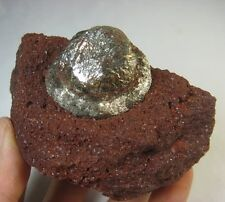 330g Golden Bright Pyrite Nodule Crystal on Red Matrix Specimen China CM261906J