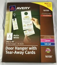Avery Door Hanger W//tear-Away Cards 4 1//4 X 11 Matte White 10//sheet 40 Sheets//PK