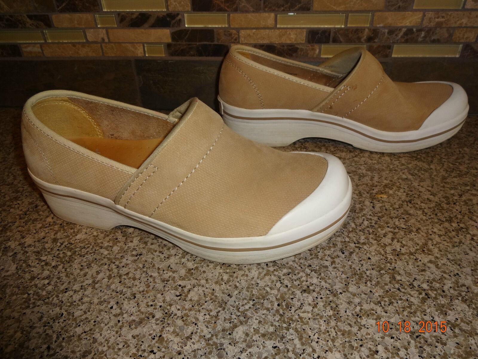 Haut femme sz 38 US 7.5-8 dansko Tan en cuir souple blanc Semelles Professionnel Chaussures