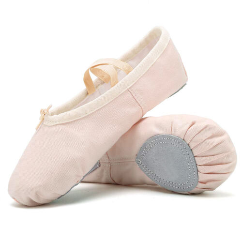 Kids Girls Soft Canvas//PU Leather Ballet Shoes Full Sole with Attached Elastics