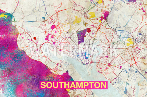 ENGLAND ART PRINT GRAPHIC POSTER OLD STREET PHOTO MAP OF SOUTHAMPTON