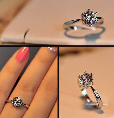 Fashion New 925 Sterling Silver cubic zirconia Jewelry Wedding Ring size 5-8