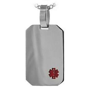 Medical ID Pendant Engraveable Mirror Finish Dog Tag Stainless Surgical Steel
