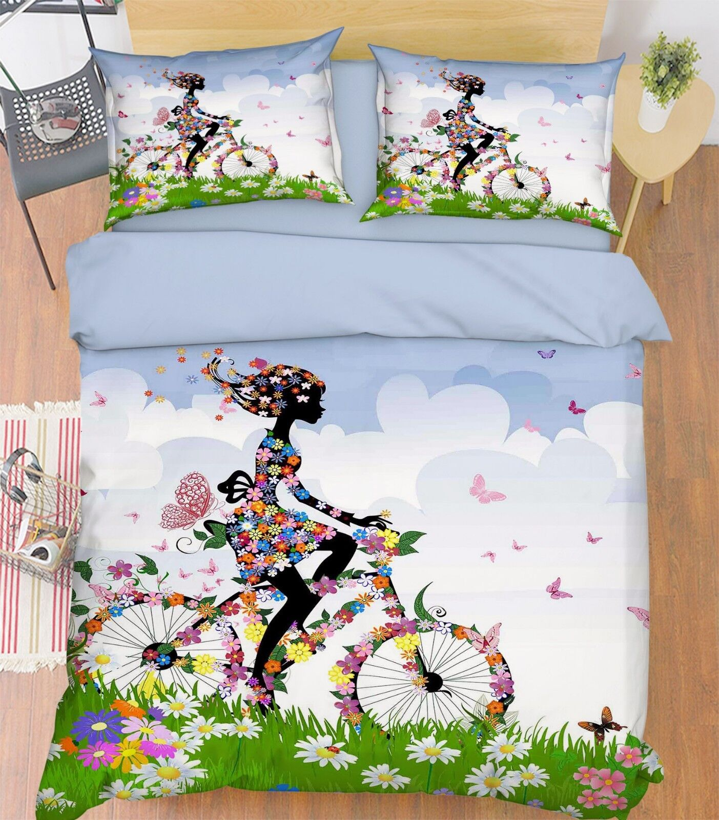 3D Flower Girl Bike 9 Bed Pillowcases Quilt Duvet Cover Set Single Queen King CA