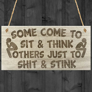 Bathroom Sign Ebay some come to sit and think novelty hanging wooden plaque toilet