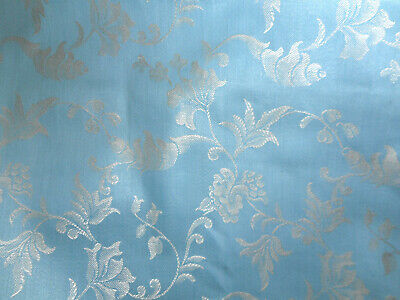 Antique Vintage French Floral Garland Ribbon Ticking Damask Cotton Fabric ~ Blue