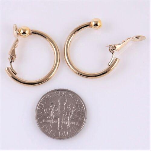 "#E121 Non-Pierced CLIP ON 1/"" 1.2/"" or 1.35/"" Small Hoop Circle EARRINGS Women Men"