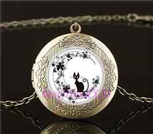 Black Cat In Flower Moon Cabochon Glass Brass Locket Pendant Necklace