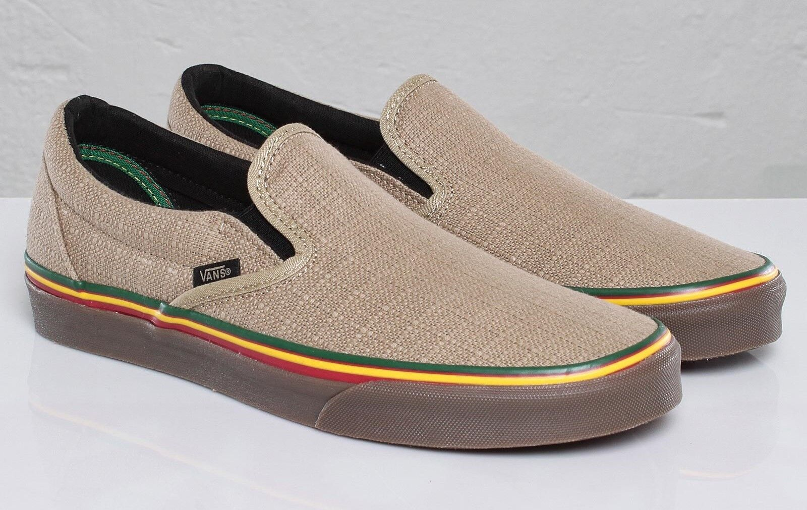 Vans Classic Slip-On (HEMP) Irie Incense  VN-0LYF1ZG  rare vegan RASTA   10.5 US