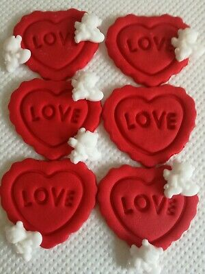 20 Red Love Hearts Edible Sugar Valentines Day Cake Topper Decorations