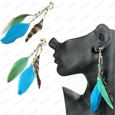 "5.5""long CLIP ON feathers EARRINGS green blue TURQUOISE FEATHER wild bird gold p"