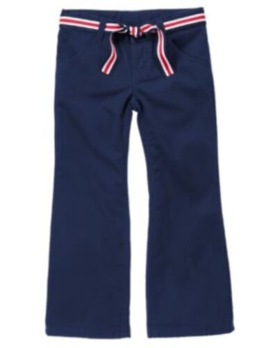 GYMBOREE UNIFORM SHOP NAVY UNIFORM BOOT CUT BELTED PANTS 4 8 9 NWT