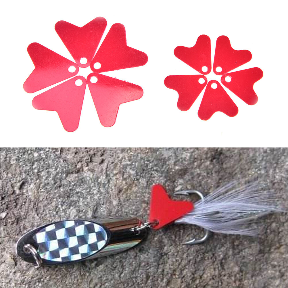 50PCS Plastic Red Heat Shape Sequins For DIY Metal Spoon Fishing Lures Hard EJB