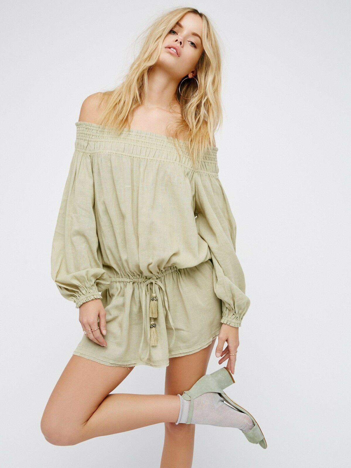 NEW FREE PEOPLE Sz S ENDLESS SUMMER THIS IS IT OFF THE SHOULDER MINI DRESS GREEN