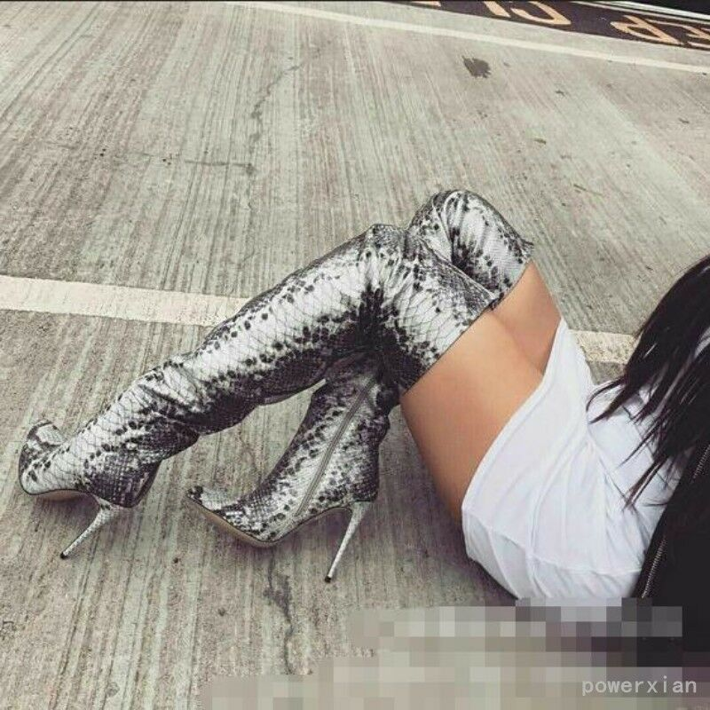 Pointed Toe Occident Womens Thigh High Boots Boots Boots Snakskin Leather Over Knee Shos Hot df855d
