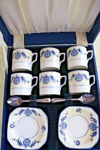 Tudor-Ware-Longton-Staffs-18-Pieces-Espresso-Set-6-Cups-Saucers-Spoons-amp-case