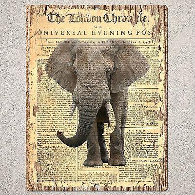 PP0189 CLASSIC NEWSPAPER ELEPHANT Sign Home Bar Cafe Restaurant Interior Decor