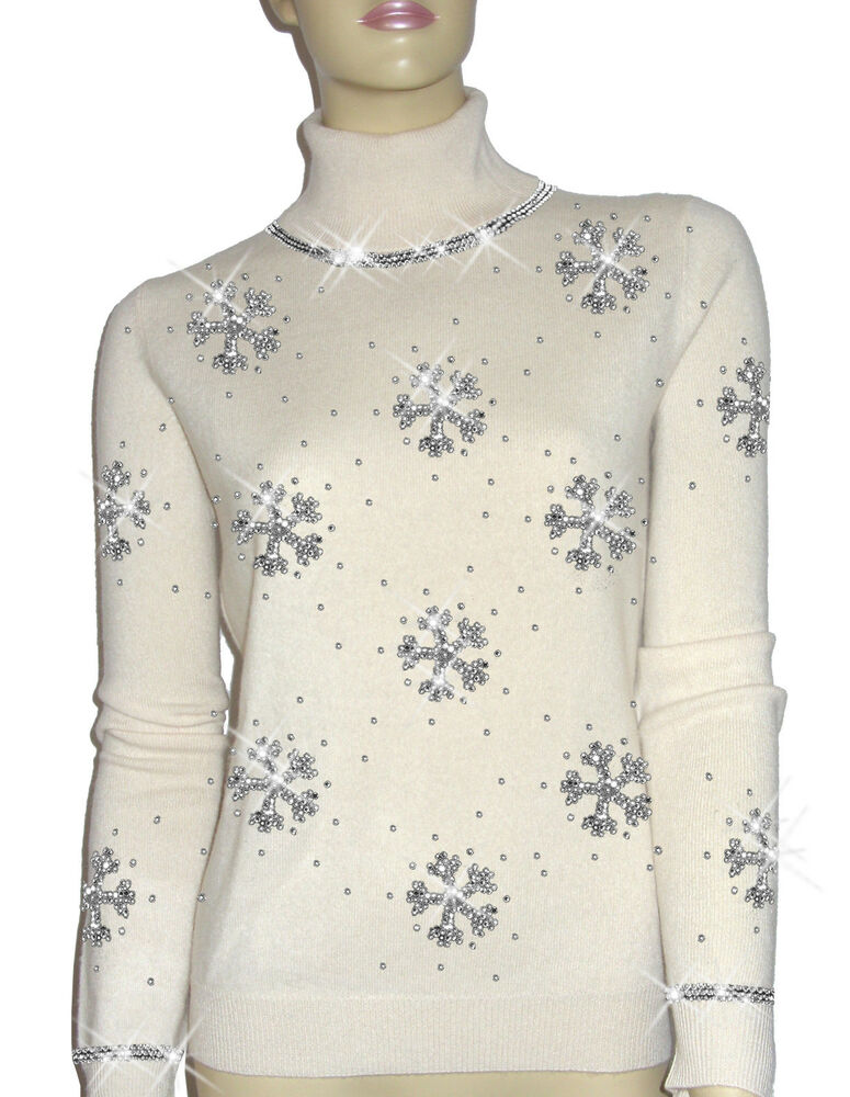 Luxe Oh 'dor 100% Cashmere Pull Luxe Flocons De Neige Crystal Argent 46/48 L
