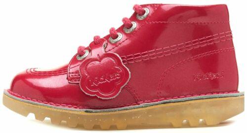 Kickers Hi Kids /& Junior Shiny Metallic Boots Strap /& Lace Bow in Pastel /& Black