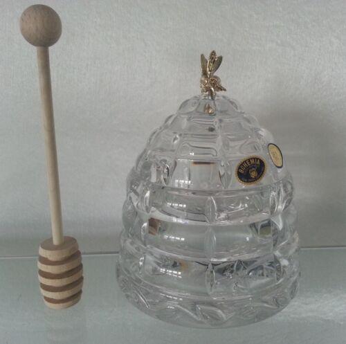 cuillère en bois menagere pot a miel en cristal de boheme sucrier bonbonniere