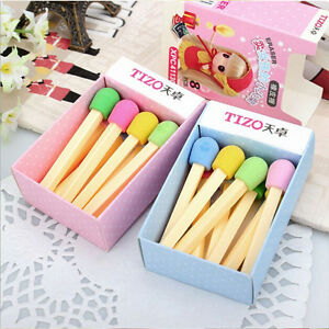 Child-Awarding-Gift-Korean-8-pcs-Set-Rubber-Stationery-Match-Pencil-Eraser-KidTH