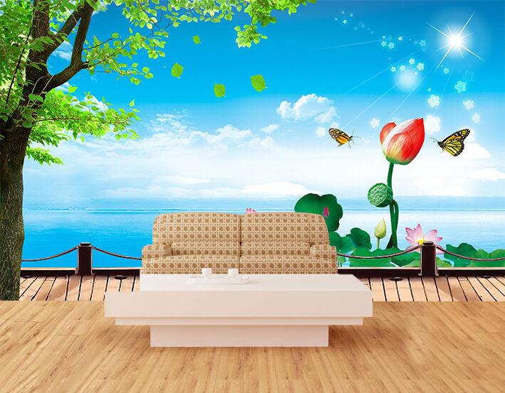 3D Sea Flowers Butterfly 11 Wallpaper Decal Dercor Home Kids Nursery Mural  Home
