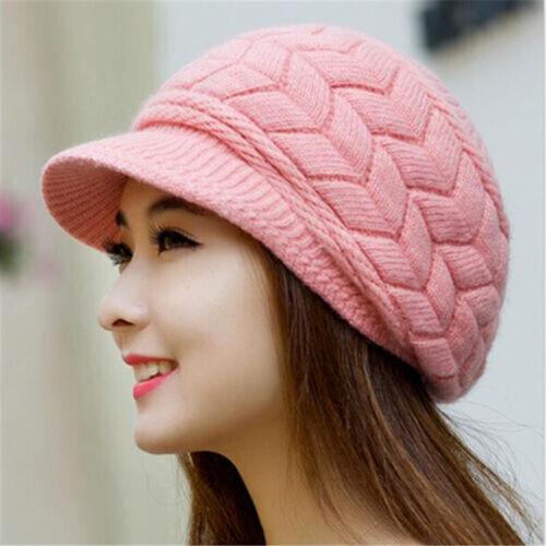 Women/'s Ladies Winter Warm Knitted Crochet Slouch Baggy Beanie Hat Ski Brim Cap