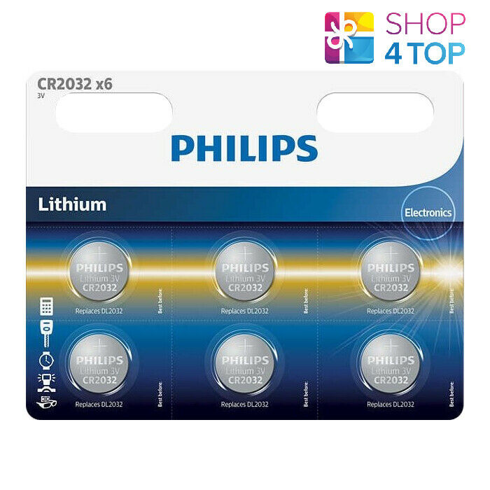 6 philips cr2032 lithium batteries 3v Cell Coin Button 6bl Exp 2030 sept new