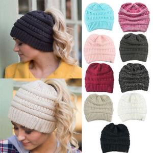 ffe8fa2f179620 Womens' CC Ponytail Beanie Hat Soft Knit Messy High Bun Winter Warm ...