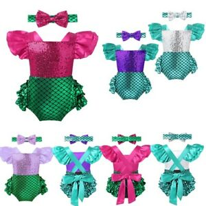 Baby-Girls-Mermaid-Costume-Romper-Bodysuit-Shiny-Jumpsuit-Headband-Party-Outfits