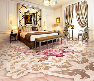 3D Pink Peony Bird 832 Floor Wall Paper Murals Wall Print AJ WALLPAPER UK Lemon
