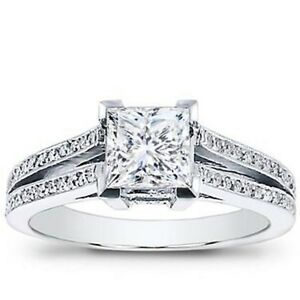 Diamond Responsible Certified 2ct Art Deco Princess Diamond Engagement Ring Stamped 14k White Gold