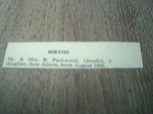 ephemera 1957 kalamazoo birth packwood b jane alison - Leicester, United Kingdom - ephemera 1957 kalamazoo birth packwood b jane alison - Leicester, United Kingdom