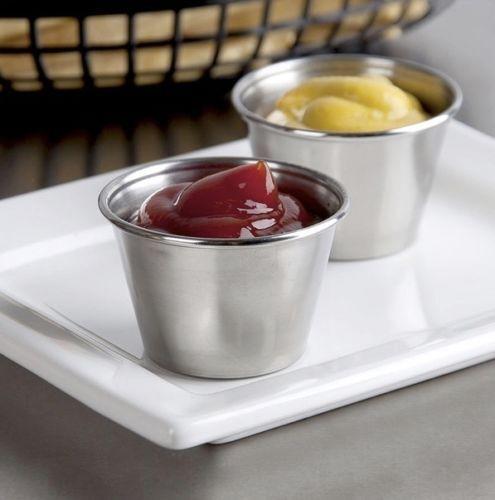 Set Of 6 Stainless Steel Ketchup Mustard Sauce Pots Dipping Pots Dip Bowl 2.5oz