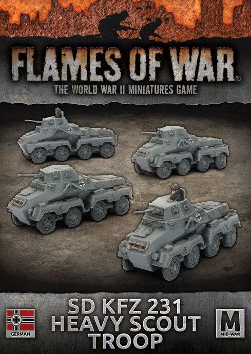 Flames of War - Sd Kfz 223 Heavy Scout Troop (X4) - German - GBX113